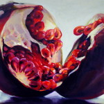 Oversize Pomegranate paintings for modern living by artist Kamille Saabre
