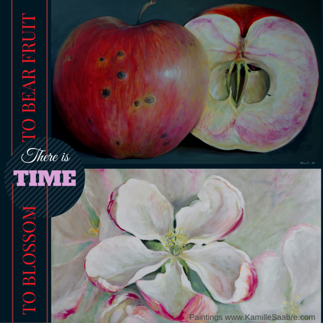 Painted apple tree blossom and fruit