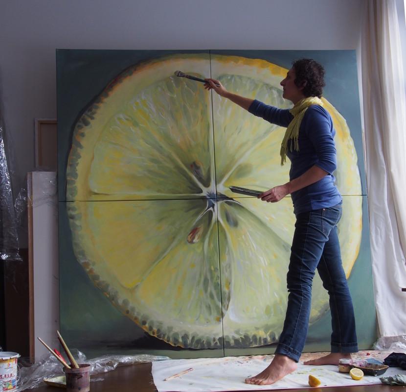 maalitud sidrun, kunstnik Kamille Saabre