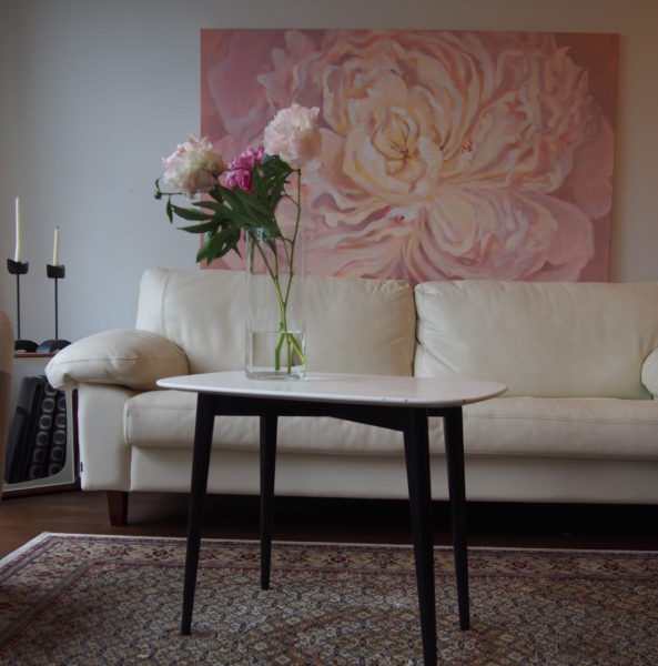 pink peony painting