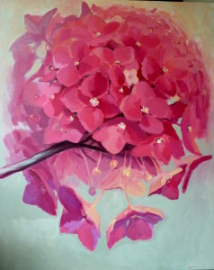 flower paintings, Kamille Saabre Pink Paintings