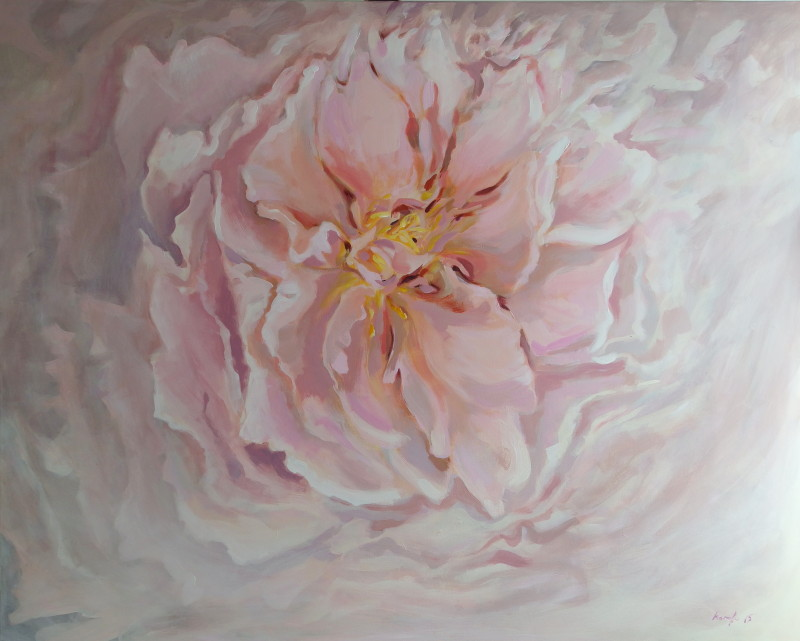 Pink Peony Painting by Kamille Saabre