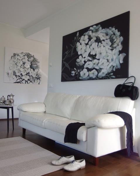 black and white flower paintings