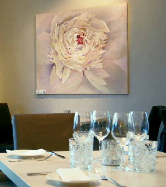 Kunst interjööris, valged lillemaalid, White peony Painting, valge pojeng maalid