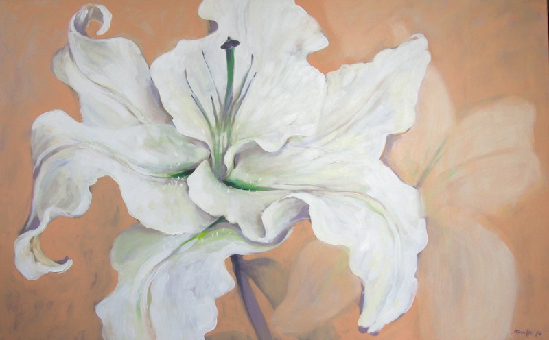lillemaalid, painted lily, white lily painting