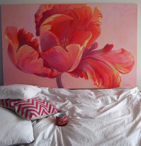 Roosad lillemaalid, Pink tulip painting