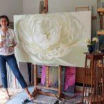white peony painting for sale. Maalide hinnad ja maalide müük, pojengide maalid